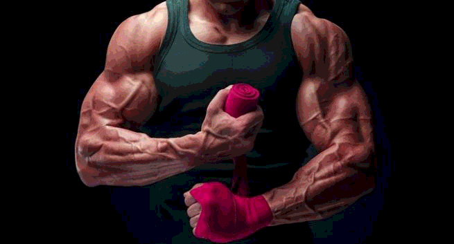 muscles and veins stand out